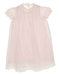 Heirloom 1920s Pale Pink Pintucked Baby Gown and Slip with Lace and Embroidery