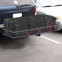 """60"""" foldable hitch mounted cargo basket. Durable carrier that is built to last and features a black epoxy powder coated finish protecting it from from rust, road grime, and the elements. It is constructed with a steel mesh surface, 6"""" steel tube rails, and a heavy-duty 2"""" steel hitch tube, which fits into your hitch receiver!"""