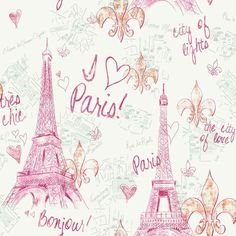 Pink Silver Paris Sidewall PW3910 Wallpaper - possible feature wall for my 9 year old daughters room?