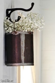 DIY Repurposed Paint Can into Vintage Styled Farmhouse Hanging Vase
