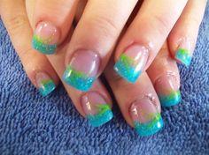 Aqua and lime green… love it <3