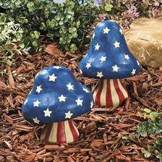 Patriotic Decorations | New Patriotic Mushrooms Garden Statues Yard Outdoor Decor | eBay