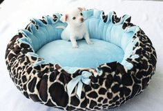 Minky Couture Doggie Bed Leopard Print by OnePoshPup on Etsy, $45.00