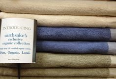 Exclusive Earthsake organic cotton towels with US-grown certified organic cotton towels.     Earthsake carries the finest luxury organic cotton towels!  Local organic and pure - only at Earthsake.