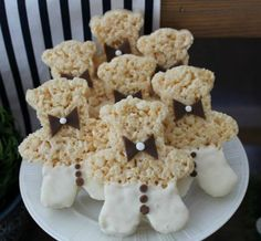 Birthday Party Ideas - Blog - (TWIN) TEDDY BEAR BIRTHDAY PARTY IDEAS- rice krispie bears with bow ties