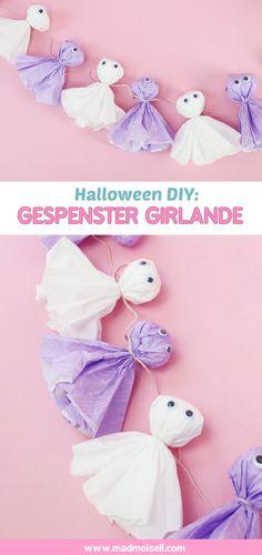 DIY Gespenster Girlande für Halloween selber machen – Kreative DIY Halloween Deko basteln und Party Deko selber machen!