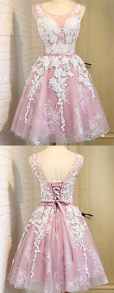 Pink Homecoming Dresses,Short Homecoming Dresses,Lace Homecoming Dresses,Homecoming Dresses 2017