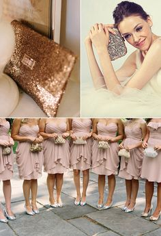 Sequined clutches + blushing bridesmaids.