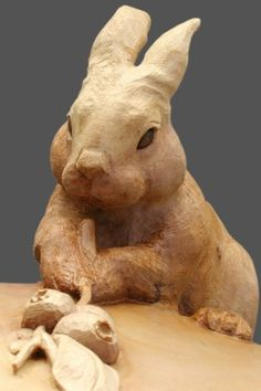 """Custom Made Round Carving """"Rabbit With Blue Berry Branch"""""""