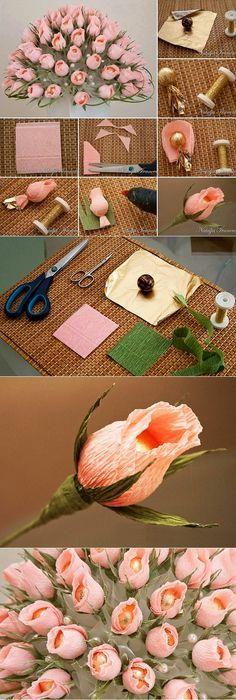 Flor com papel crepom e miçangas peroladas