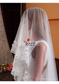 Wedding Veil One Layer Tulle Bridal Veil Cathedral Length Lace Edge No Comb Style BV021 - Wedding Veil