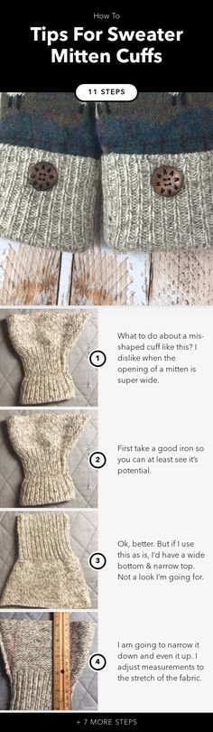 Tips & Tricks For Sweater Mitten Cuffs in 12 steps Sweater Mittens, Sweaters, Best Iron, Fingerless Gloves, Arm Warmers, Cuffs, Sewing, Tips, Fingerless Mitts