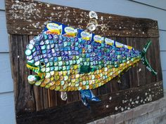 SOLD @ SEASIDE NEIGHBORHOOD SCHOOL MARATHON AUCTION 2013 -THE White Florida Sun-Mexican Sea PROJECT | The Moore Family Folk Art    Mahi Mahi on driftwood.  Vintage cans and bottle caps fish SOLD
