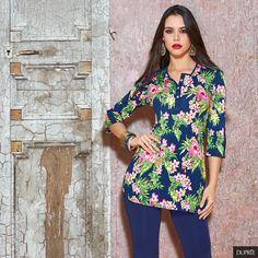 Blusas con estampado flores. Moda Dupree Floral Tops, Tunic Tops, Women, Fashion, Vestidos, Blouses, Clothing, Vibrant Hair Colors, Seasons