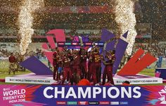 T20 Cricket : West Indies players celebrate with the trophy