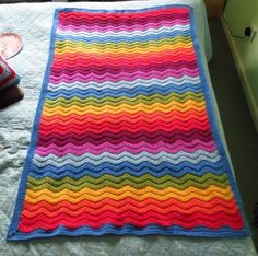 Big Rainbow Ripple Crochet Blanket Free Pattern