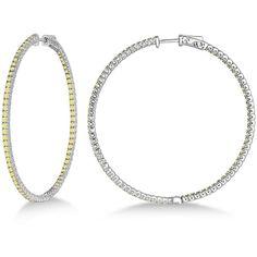 Allurez 3 Ct Tw Yellow Diamond 14k White Gold Extra Large Hoop Earrings