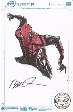 by Humberto Ramos Spiderman Suits, Spiderman Art, Comic Book Characters, Comic Character, Comic Books, The Superior Spider Man, Marvel Fan Art, Ms Marvel, Captain Marvel