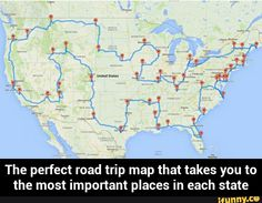 The perfect road trip map that takes you to the most important places in each state