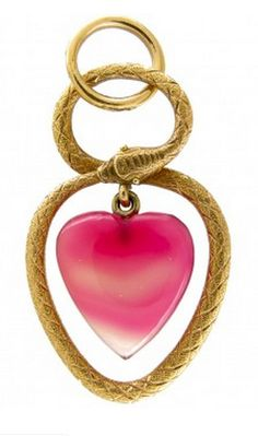 Georgian Heart Shaped Entwined Snake Pendant - A 15ct gold Georgian Heart Shaped Entwined Snake Pendant suspending a carved heart shaped pink agate charm. Beautifully intricate entwined snakes symbolising eternal love. This is a fine pendant and would make a wonderful present between young lovers. Date  Origin	Georgian (1714-1830)