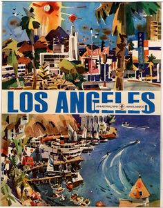 """Reproduction of two images, separated by a white bar containing the text """"LOS ANGELES"""" in a blue sans-serif font and the smaller blue text """"American Airlines"""" with the AA logo. Description from madformidcentury.com. I searched for this on bing.com/images"""