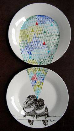 Love Birds Geometric Design Plates hand by PerDozenDesign on Etsy perfect for Valentines Day!
