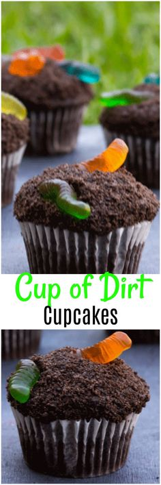 Cup Of Dirt Cupcakes are cupcakes the kids are going to love! A fun twist on your traditional cup of dirt pudding cup made with chocolate cake!