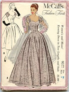1950s Vintage Sewing Pattern McCalls 9577 by GreyDogVintage, $95.00