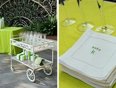 green baby shower; champagne cart, embroidered bevnaps