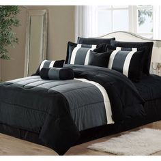 d222200c93 11-Piece Oversized Black & Gray Comforter Set Bedding with Sheet Set (Queen  Size)