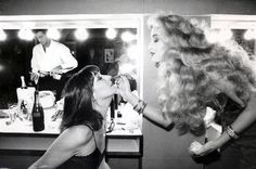 Anjelica Huston and Jerry Hall, ca. 1970s.