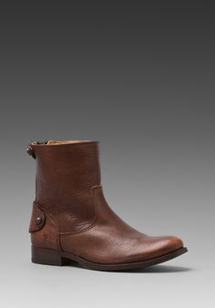 Frye Melissa Button Zip Short Boot in Brown