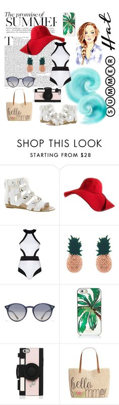 """""""Summer Hat Style"""" by marvelfreak ❤ liked on Polyvore featuring Fergie, Oye Swimwear, Aamaya by Priyanka, Ray-Ban, Kate Spade, Style & Co. and summerhat"""
