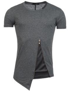R&R Men Slit Zipper T-Shirt - Gray