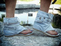 Upcycled Denim Sandals - The Jeans Sandal Boots by DaniKshoes are Pants for the Feet (GALLERY)