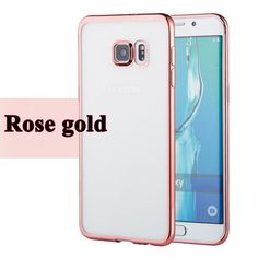 Silicone Case For Samsung Galaxy S6 / S6 Edge / S6 Edge Plus Transparent Cover + Shiny Plating Luxury Rose Gold Coque Phone Bag