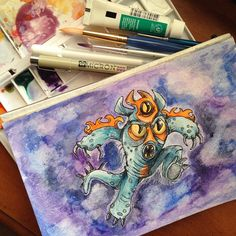 My take on #Fred from #Disney #Pixar's #BigHero6! Used #watercolor, #microns, and white gel pen.