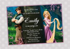 Tangled Rapunzel  Disney Princess Birthday by CreativePartyPixels, $5.50