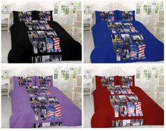 New York Printed Duvet Cover Bedding Set Single Double King Super King