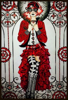 My 3 color challenge. Red/black/white. Marty Noble Steampunk Fashion. Colored by Patti Kondus.