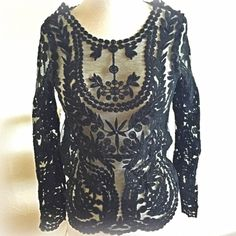 """BLACK WHITE RED SALE! Statement lace top This is so pretty. Its label says """"S"""", but I'm XS to S, and the fit is a touch narrow, especially across shoulders. Best for XXS or narrowly built and small-busted XS. Black, unlined. Tops Tees - Long Sleeve"""