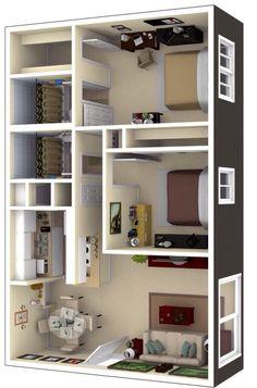 3d House Plans, 2 Bedroom House Plans, Model House Plan, House Blueprints, Small House Plans, 2 Bedroom House Design, Bedroom Layouts, House Layouts, Bedroom Ideas