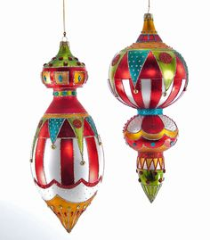 "Katherine's Collection Noel Christmas Collection Set Two Assorted  11"" Noel Glass Finial Ornaments Free Ship"