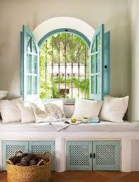 Spanish style – Mediterranean Home Decor Window Seat Cushions, Window Seats, Window Sill, Window Coverings, Window Treatments, Living Spaces, Living Room, Spanish Style, Furniture Sets