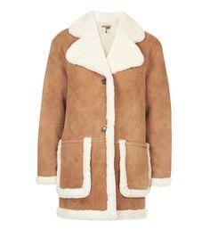 manteau peau retournee cuir topshop hiver