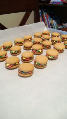 Mini hamburger cupcake toppers.