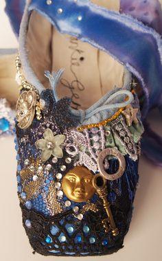 Textile collage pointe shoe