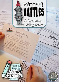 """From the first 4-pack of """"Keep It Fresh! Writing Centers,"""" WRITING BATTLES has students write persuasively to convince their classmates that one topic is better than another... like, cake is better than cookies. Classmates read the battle papers at the end of the week and vote! ($)"""