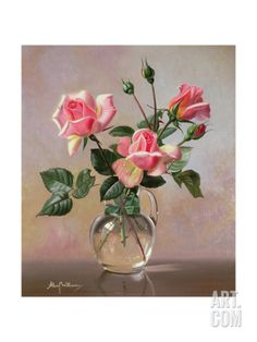 Pink Roses in a Glass Jug Giclee Print by Albert Williams at Art.com