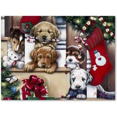 Trademark Fine Art 'Christmas Puppies On The Loose' Canvas Art by Jenny Newland, Size: 14 x 19, Assorted